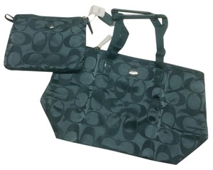 Coach Signature Getaway Pack Able Nylon Tote Mineral Travel Bag