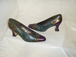 Other Vintage Margaret Jerrold Size 6 Medium Heel Teal Gold Unique Art Teal/Purple/Gold Pumps
