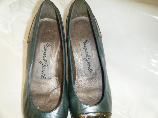 Other Vintage Leather Margaret Jerrold Size 6 Medium Heel Unique Art Teal/Purple/Gold Pumps