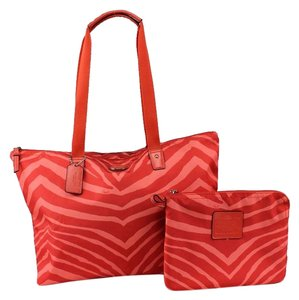 Coach Weekender Nylon Packable Tote Getaway Zebra Print Hot Orange Travel Bag