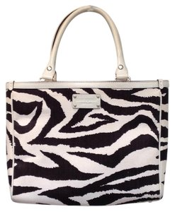 Kate Spade Canvas Leather Trim Zipper Lined Satchel in Animal Print