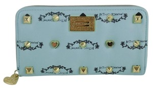 Betsey Johnson New BETSEY JOHNSON Studded Signature Minty Blue Zip Around Wallet CUTE!