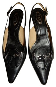 Tod's Tods Leather Kitten Black Mules