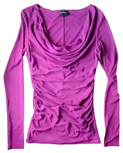 Moda International Mesh Sheer Cowl Neck Top Fuchsia