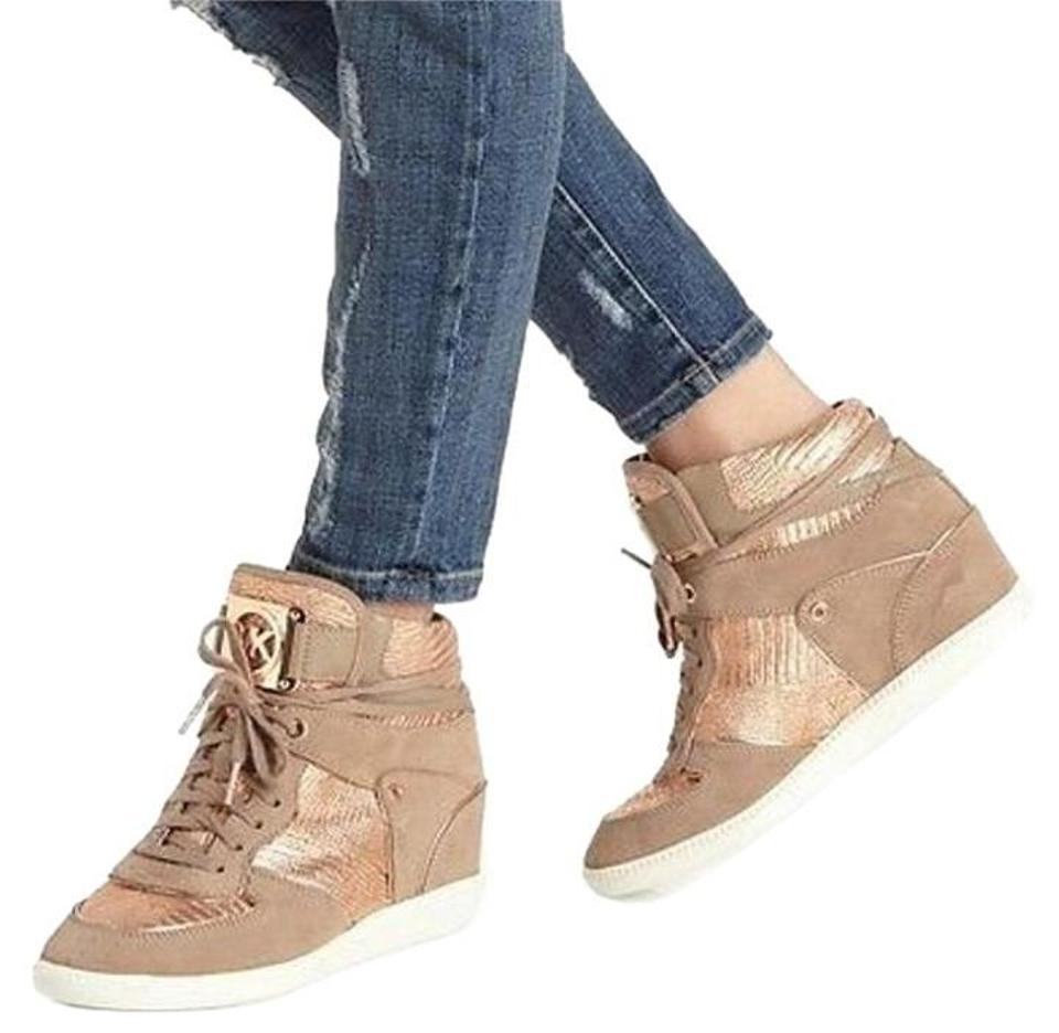 5a4202ead0 Michael Kors Rose + Gold High Top Sneakers Wedges Size US 10 Regular ...