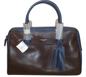 Coach Purse Leather Navy Satchel in Brown with Blue Piping