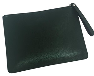 Salvatore Ferragamo Textured hunter green Clutch