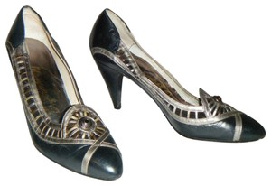 Other Vintage 6.5 Art Unique Medium Heel Black/Silver/Gold Pumps