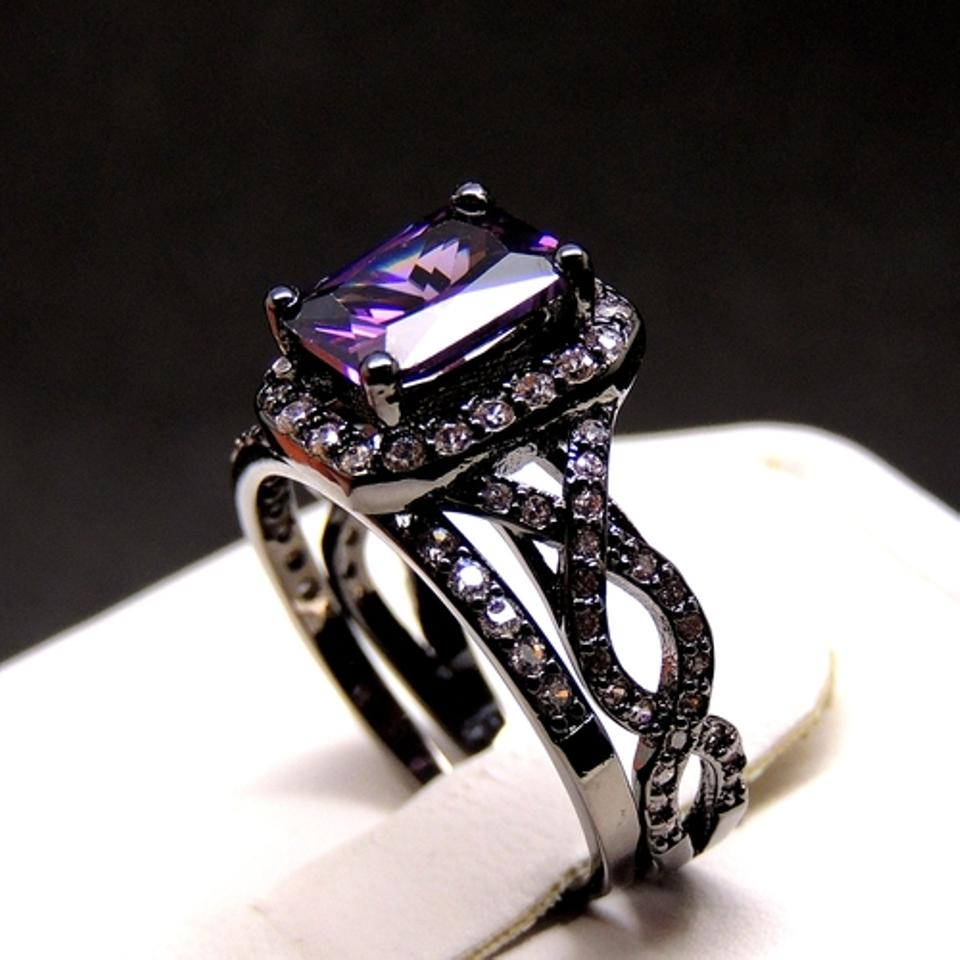 black purple absolutely very elegant engagement and gold plated wedding ring tradesy - Purple Wedding Rings