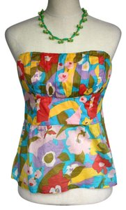 Nanette Lepore Floral Sleeveless Tie Back Cotton Sexy Multi-Color Halter Top