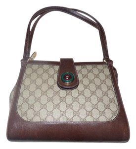 Gucci Rare Style Early High-end Bohemian Gold/enamel Snap Two Strap Satchel in shades of brown with large G logo print