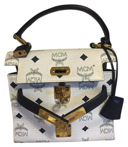 MCM White with black letters prints Clutch