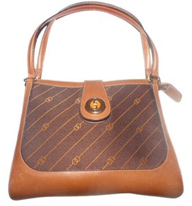 Gucci Rare Style Early High-end Bohemian Gold/enamel Snap Two Strap Satchel in shades of brown with diagonal rust logo print