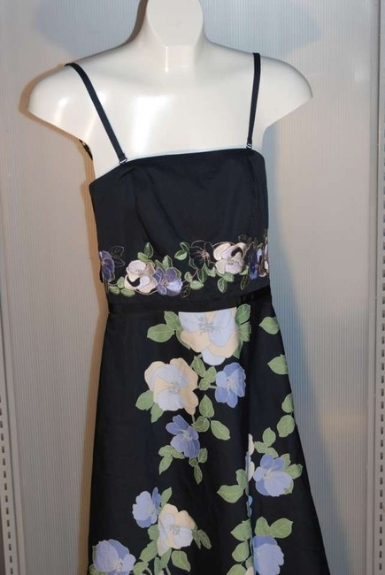 Ann Taylor LOFT New Without Tags Adorable! Removable Straps Cocktail Black With Florals Colors Of Purple/yellow/green Dress