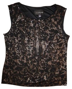Connected Apparel Sparkly Sequins Gold Top Black, Gold, Beige