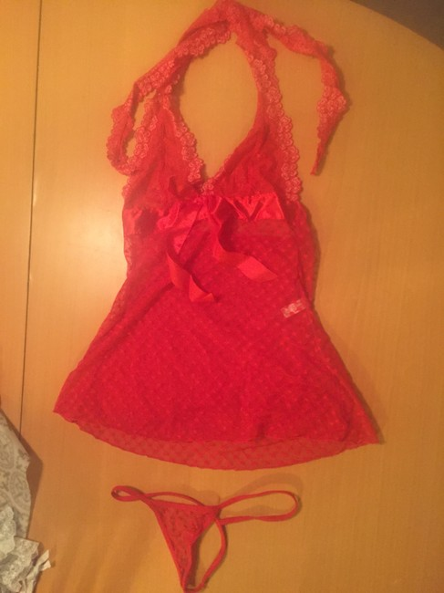 Leg Avenue Sheer Hearts Sexy Valentines Chemise Gstring Lingerie Bow Lace Red Halter Top
