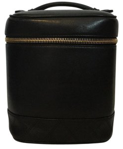 Chanel Chanel Black Leather Vertical Cosmetic Case
