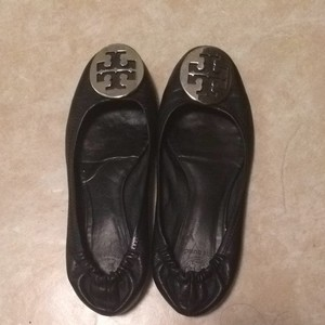 Tory Burch Black With Silver Buckle Flats
