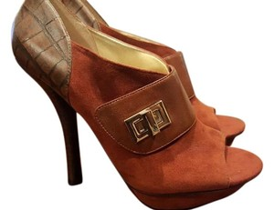 Nine West Heels Suede Brown/Dark Orange Platforms