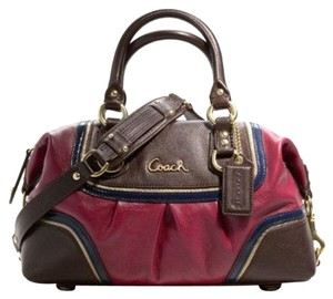 Coach Magenta And Brown 'ashley' Satchel in Magenta/Brown