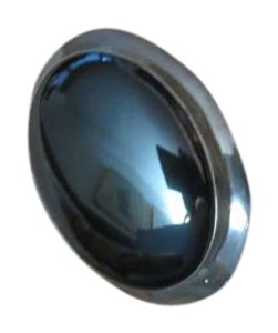 AT Large Vintage Sterling Silver Hematite Cabochon Pin Modernist Minimalist Signed A T