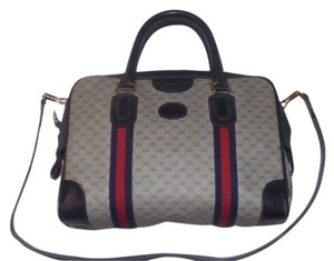 Gucci Doctor's Speedy/Boston Logo Shades Of Blue Unique Satchel in navy small G print/red & navy