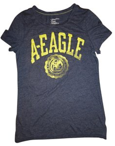 American Eagle Outfitters Faded Boho Stretchy T Shirt Heather Blue, Yellow