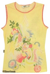 Moschino Stretchy Sleeveless Floral Italian Tank Top Yellow
