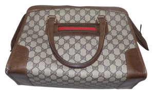 Gucci Doctor's Boston Large G Logo Red/Green Stripe Extra Large Size Satchel in shades of brown with red & green
