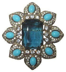 Moghul Large Moghul Moghal Pin Sapphire Glass Turquoise Cabochon Pave Crystals --Superb!