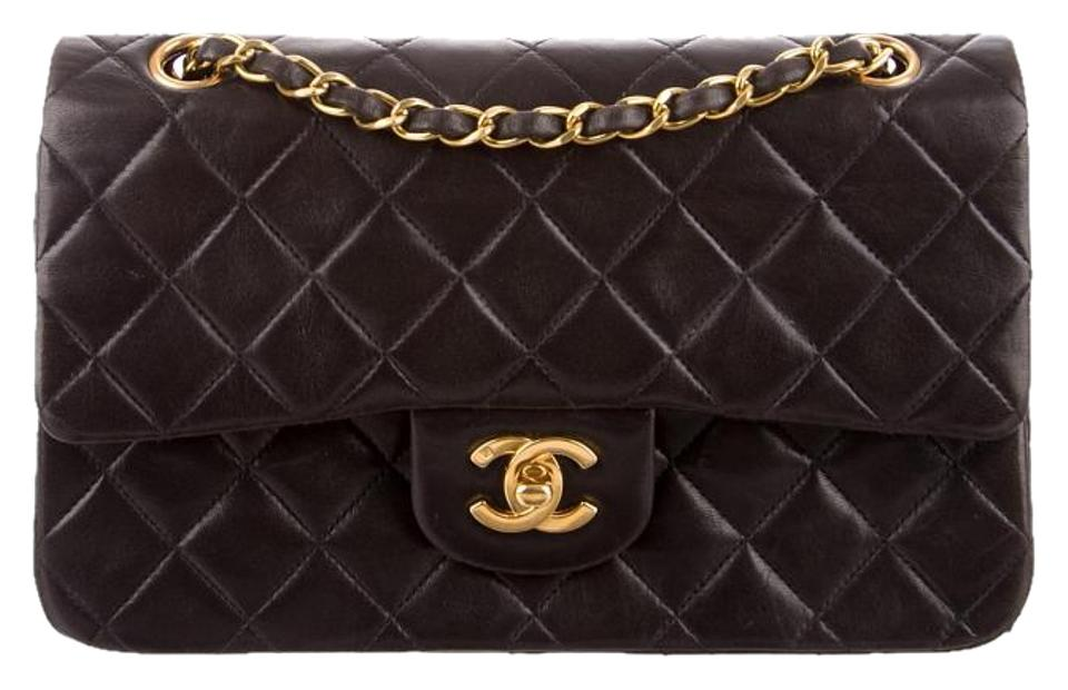 2ca719f8a028 Chanel 2.55 Reissue Double Flap Classic Quilted Cc Logo Small Med Black Lambskin  Leather Shoulder Bag