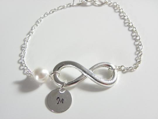 White Personalized Initial Bridesmaid Infinity Initial Bridesmaid Personalizes Gift Bracelet