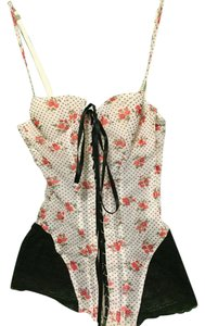 Intimissimi Victoria's Secret Corset Satin Ruffled Lace Top White, black, green & red flowers