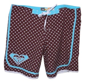 Roxy Bermuda Shorts Brown, Teal, and White