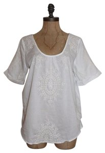 LAST APRIL Peasant Embroidered Top WHITE