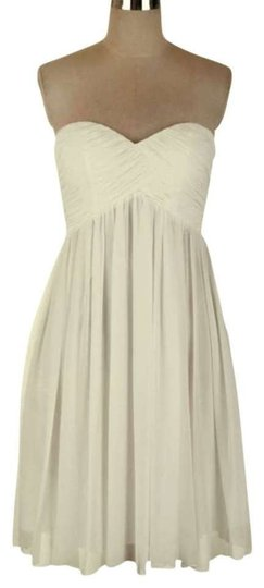 Ivory Chiffon Strapless Sweetheart Pleated Bust Destination Wedding Dress Size 6 (S)