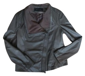 Elie Tahari Leather Drape Gray Leather Jacket
