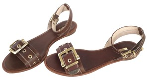 Louise et Cie Ankle Strap Buckle Leather Cognac Sandals