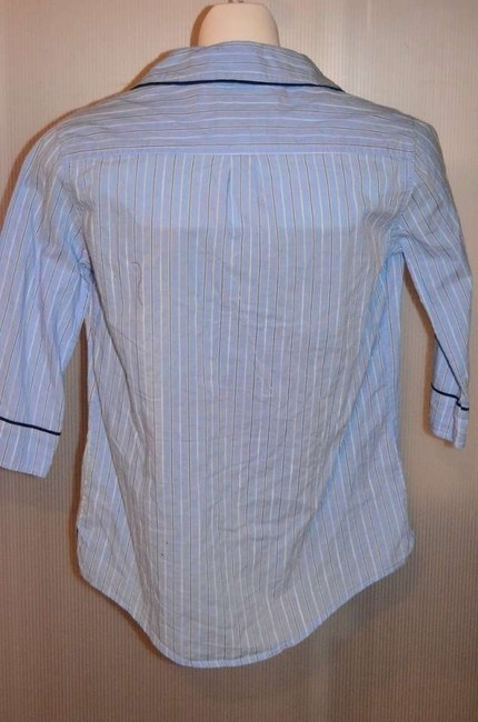 Gilly Hicks Sydney Cute! Size Xs Blue With Navy/white Pinstripe 'sleep' Shirt Top Blue pinstripe