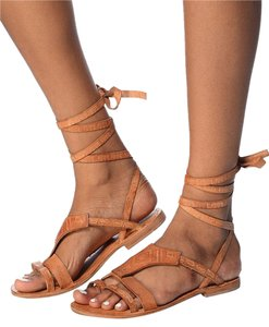 Free People Sandal Leather Embossed Brown Sandals