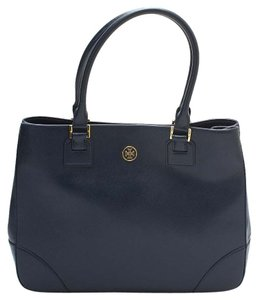 Tory Burch Robinson Hudson Bay Leather Double Zip Tote in NAVY