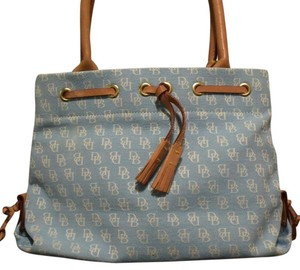 Dooney & Bourke Burke Purse Tote in Baby Blue And Tan