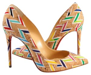 Christian Louboutin Pigalle Follies Cork Chevron Nautical brown Pumps