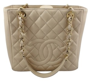 Chanel Pst Caviar Leather Beige Tote in Light Peach