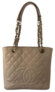 Chanel Caviar Leather Shopping Tote in Beige
