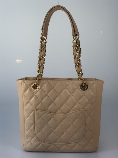 Chanel Caviar Leather Petite Shopping Tote in Beige