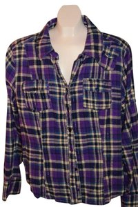 Apollo Top Purple/blue Plaid with silver thread throughout