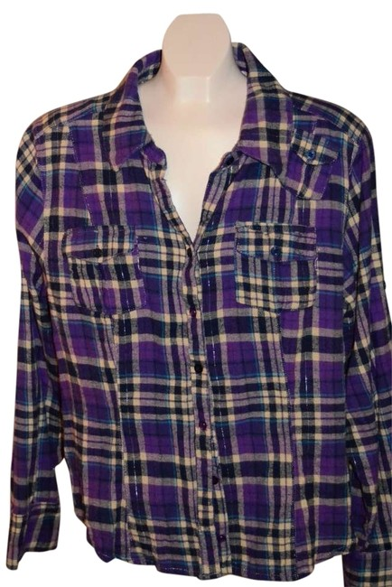 Apollo Cute Shirt Buttons Down Front 2 Front Pockets Plus Little Pocket Left Chest Size 2x; However Exact Measurements Are Top Purple/blue Plaid with silver thread throughout