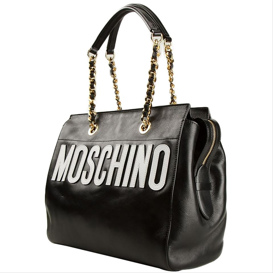 df51ce03 Moschino Stitched Logo Leather Tote Bag - Black Black 30% Off | Tradesy