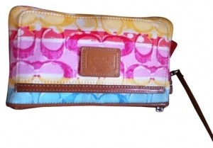 Coach Wristlet in Yellow, pink blue and beige